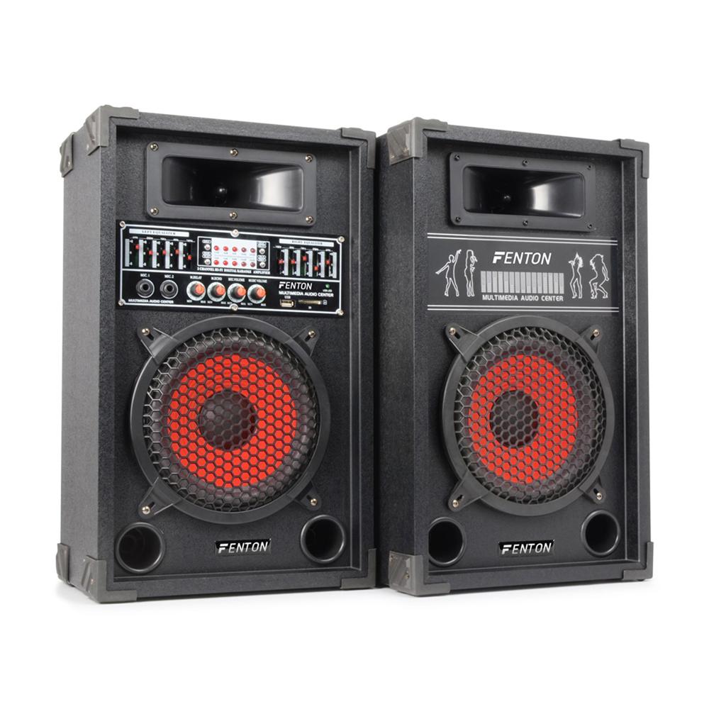 pair 8 speakers active passive home dj karaoke party set usb mic input 600w ebay. Black Bedroom Furniture Sets. Home Design Ideas