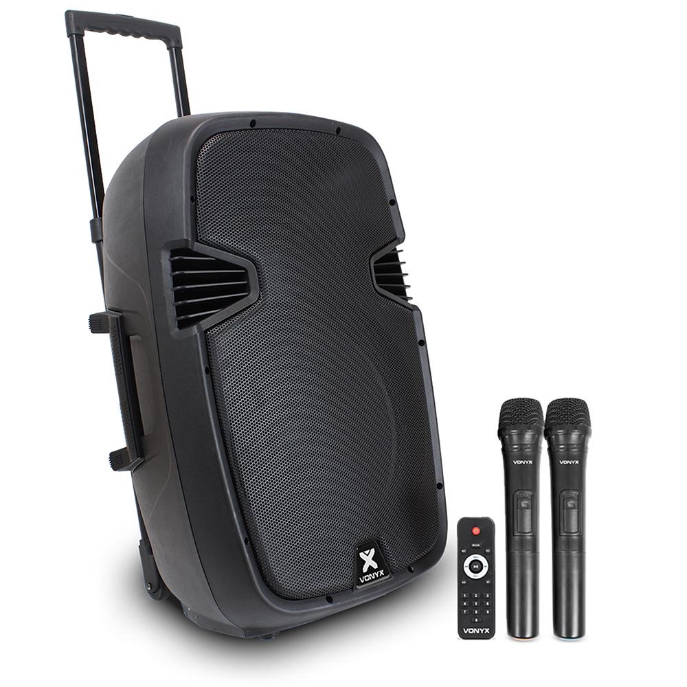 "Vonyx SPJ-PA915 15"" Active Mobile PA Speaker System + Wireless Mics"