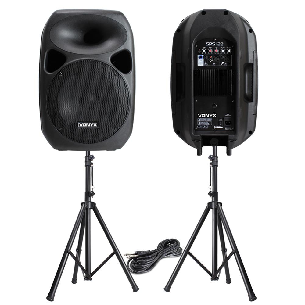 powerful 12 active disco pa speakers mobile dj portable sound system stands ebay. Black Bedroom Furniture Sets. Home Design Ideas