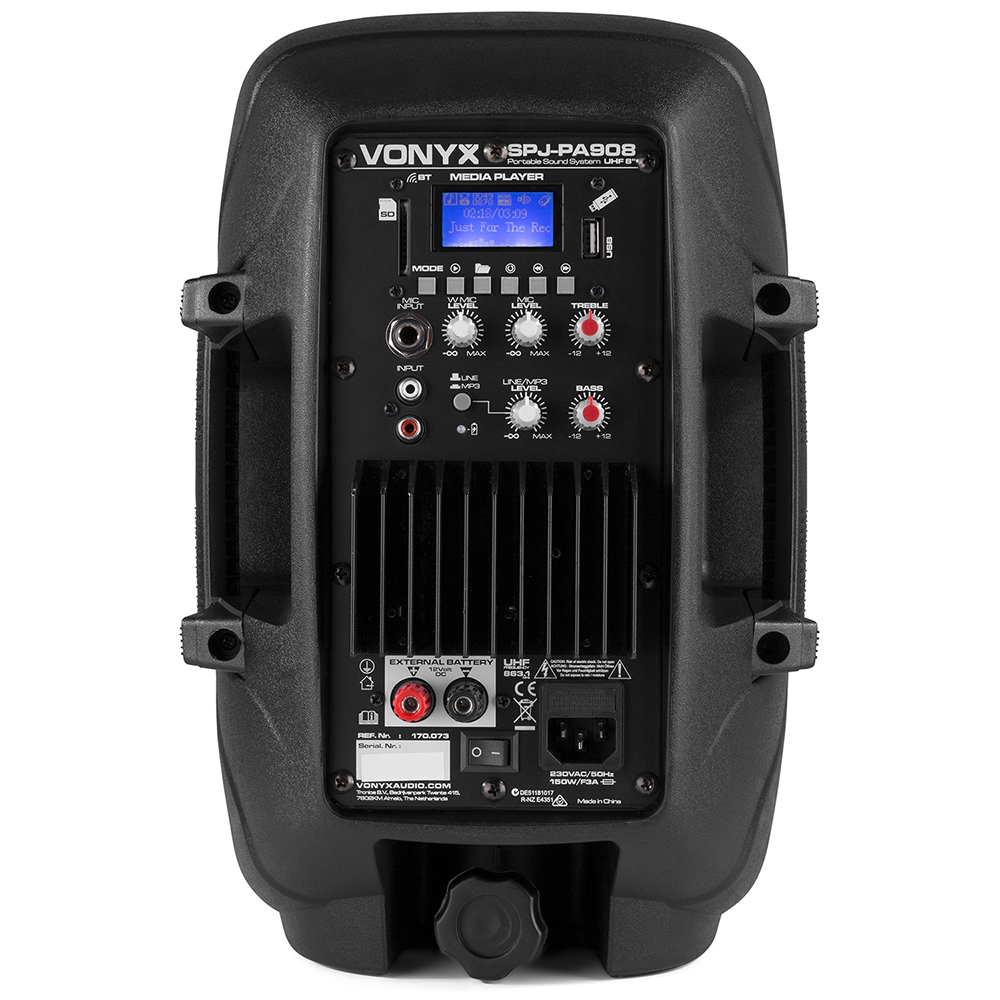 skytec 8 inch bluetooth battery portable pa system 350w ebay. Black Bedroom Furniture Sets. Home Design Ideas