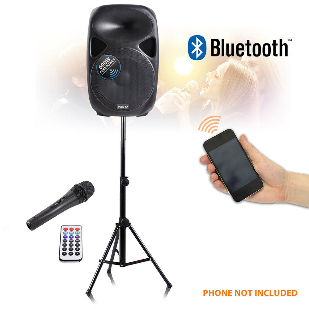 sps active powered pa speaker system 15 inch wireless microphone dj 1200w ebay. Black Bedroom Furniture Sets. Home Design Ideas