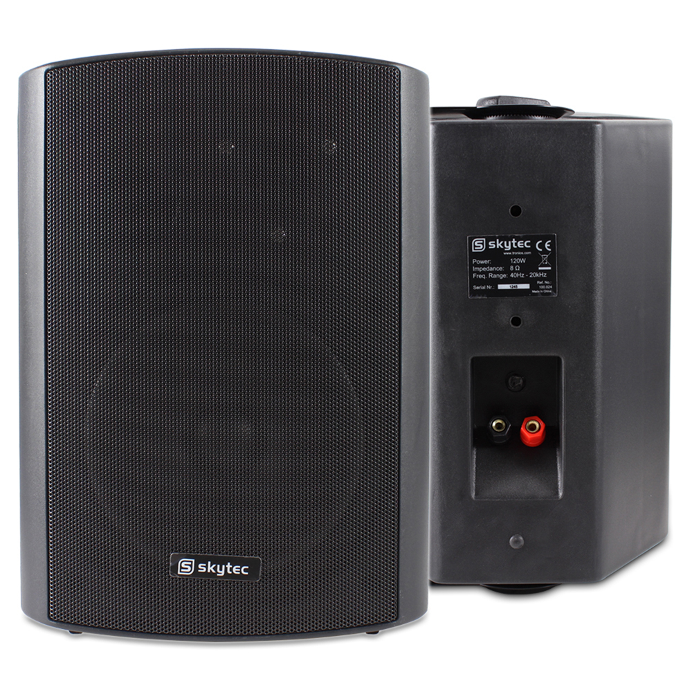 Skytec 2-way Wall Mounted Speakers Pair Black 120W