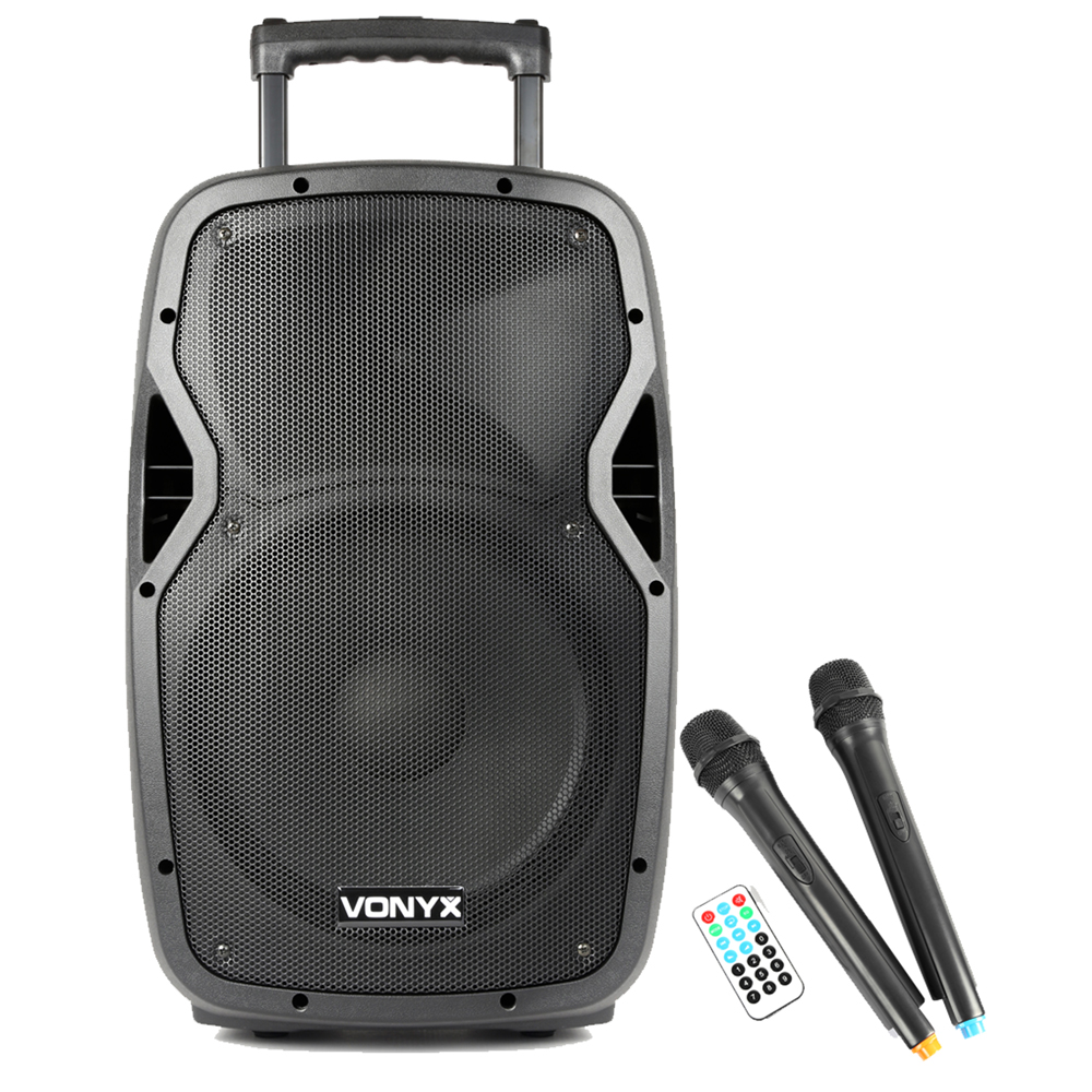 Vonyx AP1200PA Portable PA Speaker with Bluetooth + 2 Wireless Mics