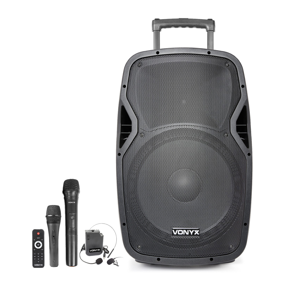 Vonyx AP1500PA Portable PA Speaker with Bluetooth + 2 Mics & Headset