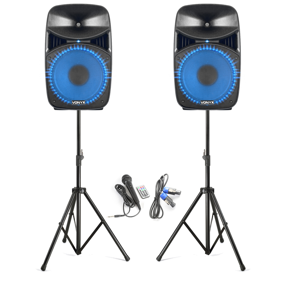 "Vonyx VPS122A 12"" Active PA Party Speakers with Stands"