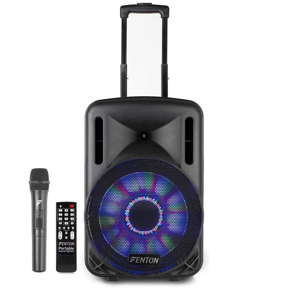 Fenton FT12LED Portable PA Speaker with Bluetooth + Wireless Mic