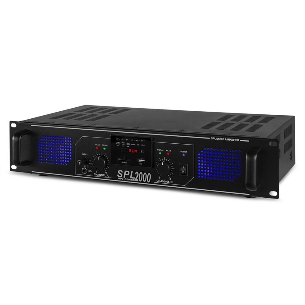 Spl2000 Two Channel Pa Amplifier Usb Mp3 Aux 19 Quot 2u Rack