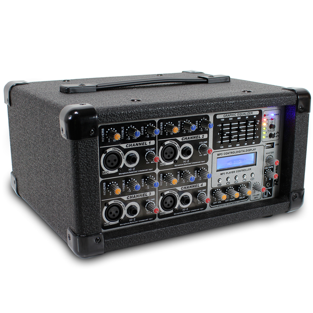 mixer pa dj amp speakers system band complete amplifier power karaoke studio live 200w rehearsal stereo channel party ch starter