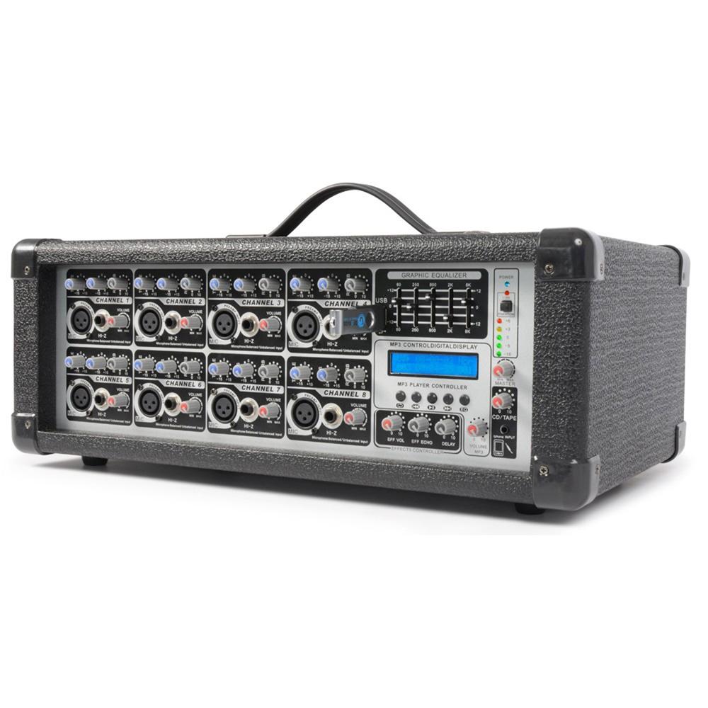 power dynamics pa amplifier 8 channel mixer party dj band karaoke amp. Black Bedroom Furniture Sets. Home Design Ideas