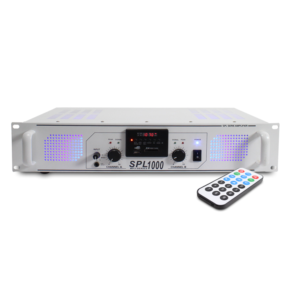 Skytec SPL-1000 White MP3 Power Amplifier 2 x 500W