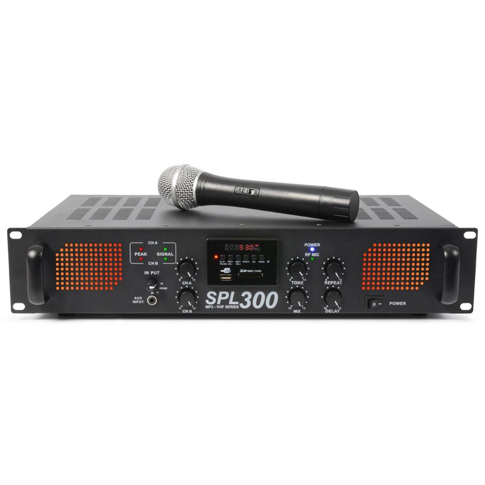 Skytec SPL-300VHF Power Amplifier with Wireless Microphone 2 x 150W