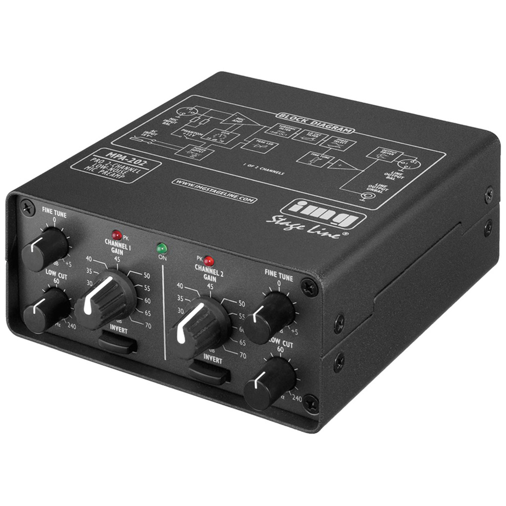 IMG Stage Line 320710 MPA-202 2 Channel XLR Microphone Pre Amplifier