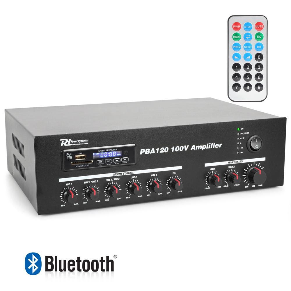 Details about Power Dynamics PBA120 100V Line USB Amplifier Remote MP3  Player Bluetooth 120W