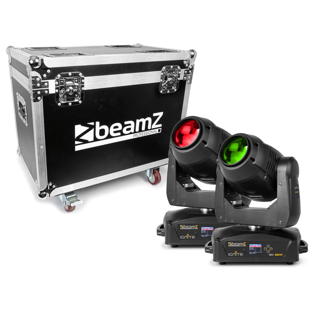 BeamZ Professional IGNITE180B Moving Head LED Light, Set of 2 with Flightcase