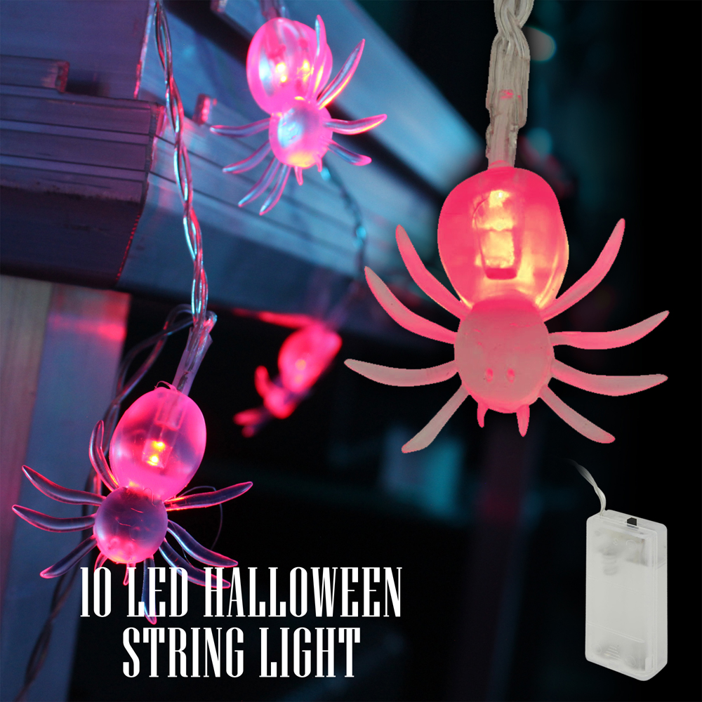 Home, Furniture & DIY Halloween Set of 5 Terrifying Twinkling Spiders LED Colour Changing Light Set Party Decoration