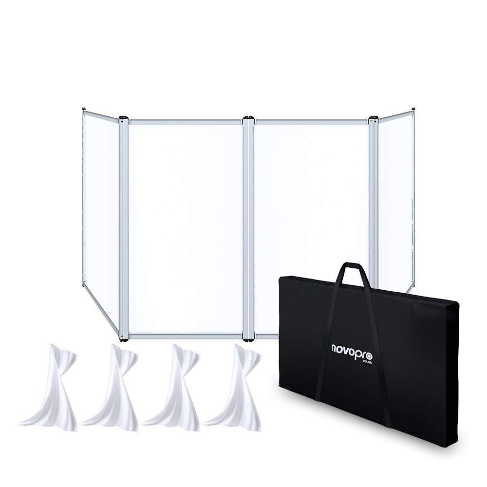Novopro DJS2 Lightweight White Aluminum DJ screen & Bag