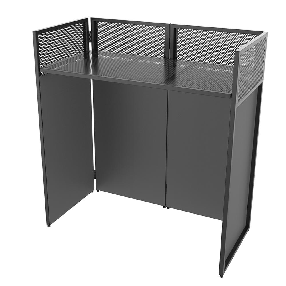 foldable mobile dj booth deck stand screen facade mixer laptop dj equipment desk ebay. Black Bedroom Furniture Sets. Home Design Ideas