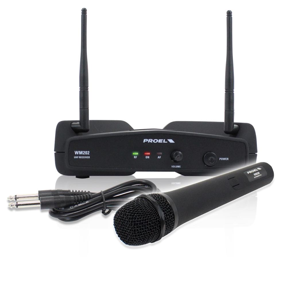 Proel WM202M-F2 Wireless Microphone & Receiver Set Karaoke
