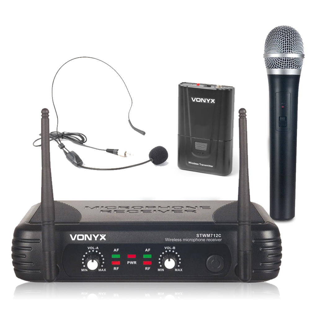 Vonyx Dual Channel VHF Wireless Headset + Handheld Microphone Set