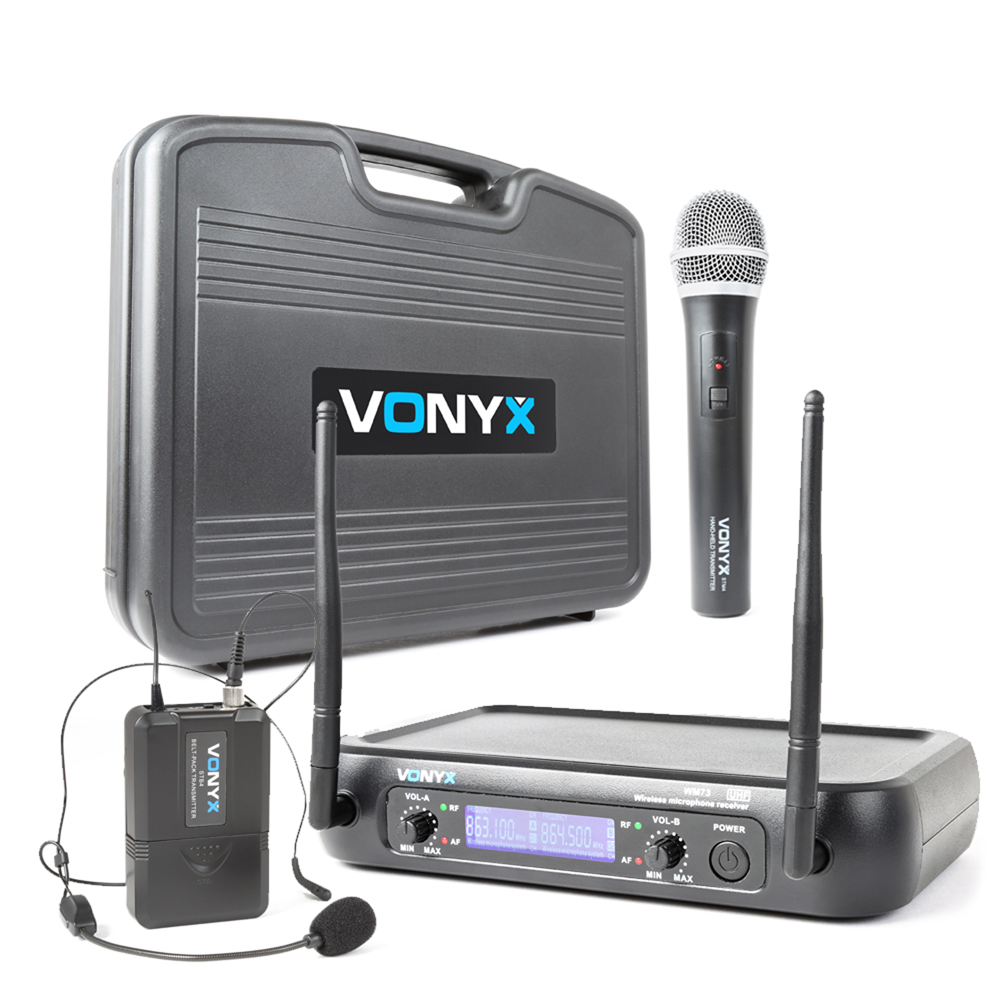 Vonyx WM73C 2-Channel UHF Wireless Microphone System with Handheld, Bodypack and Display with Case