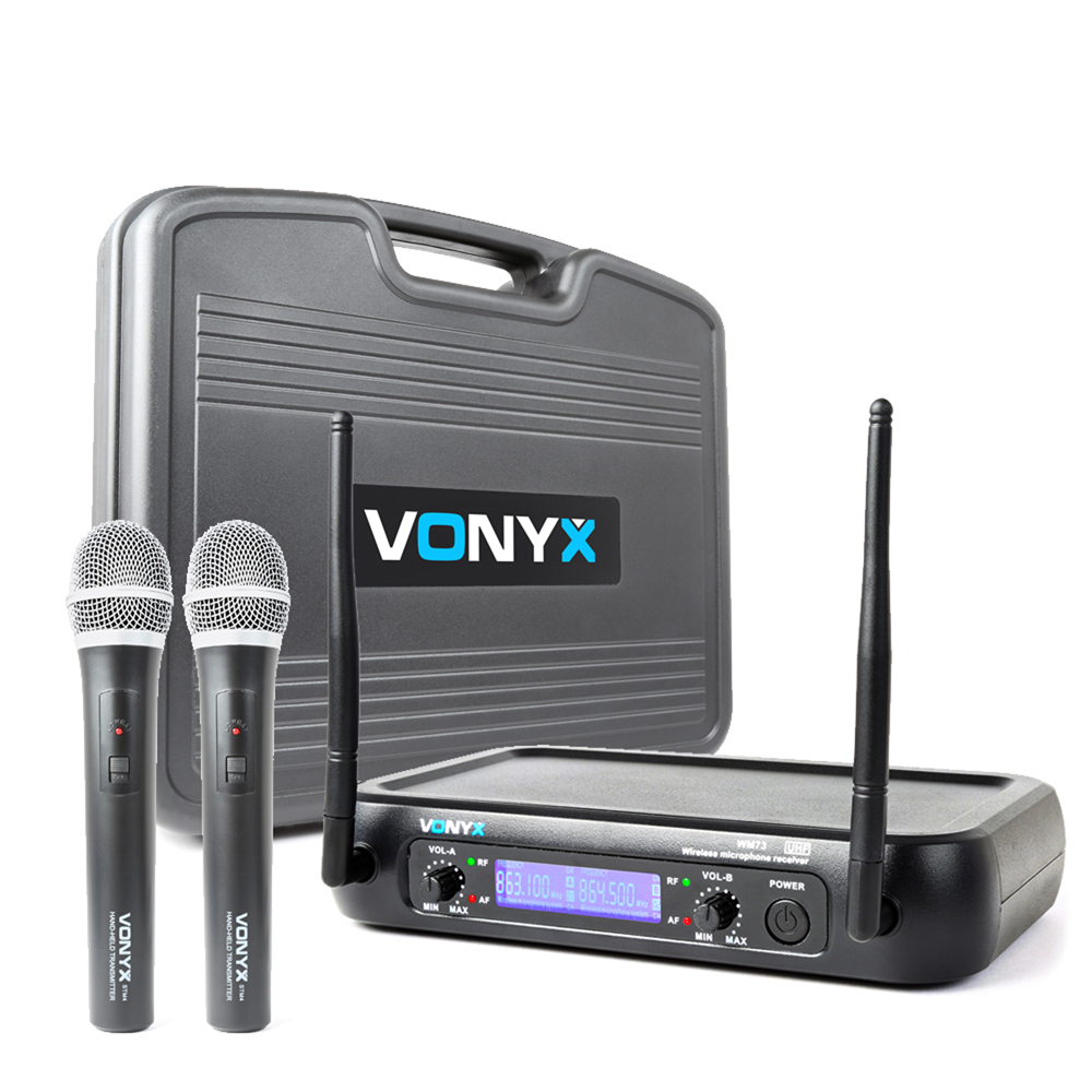 Vonyx WM73 2 Channel UHF Wireless System with Handheld Microphones