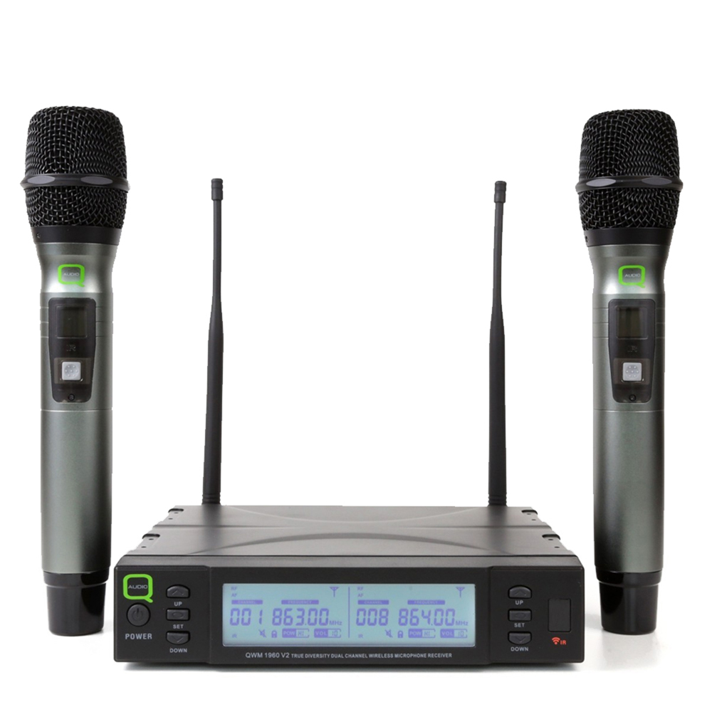 Q Audio QWM1960-V2-HH Wireless Handheld Microphone System, Set of 2 (UHF 2-Channel)