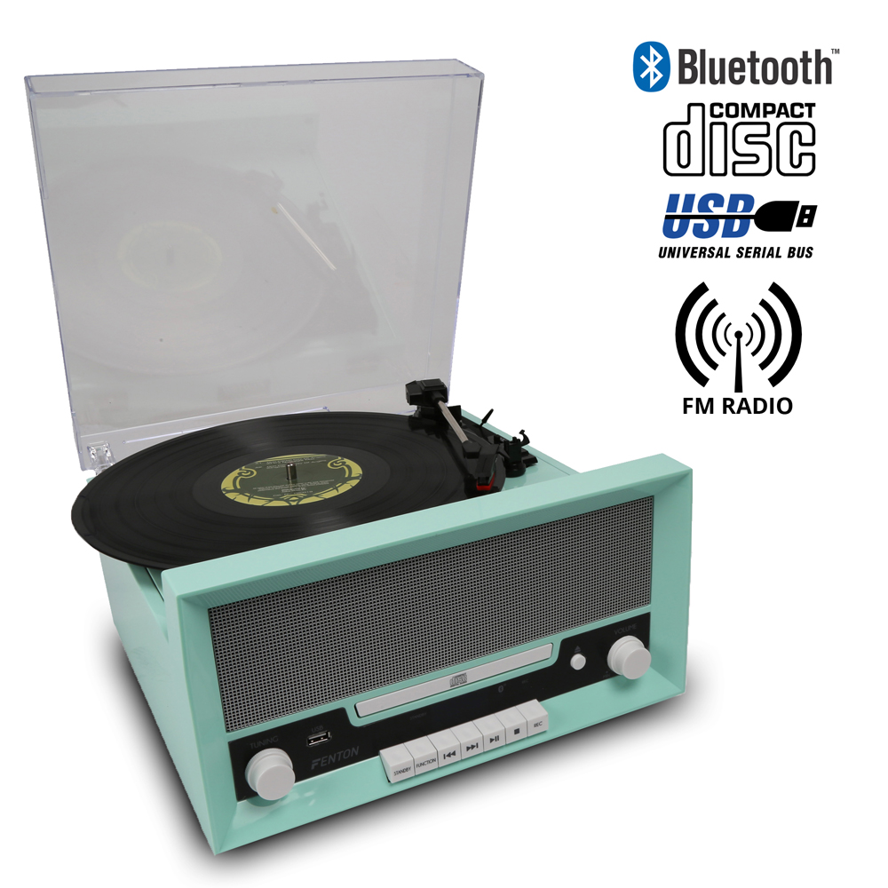 Classic Vintage Mint Green Vinyl Lp Record Player