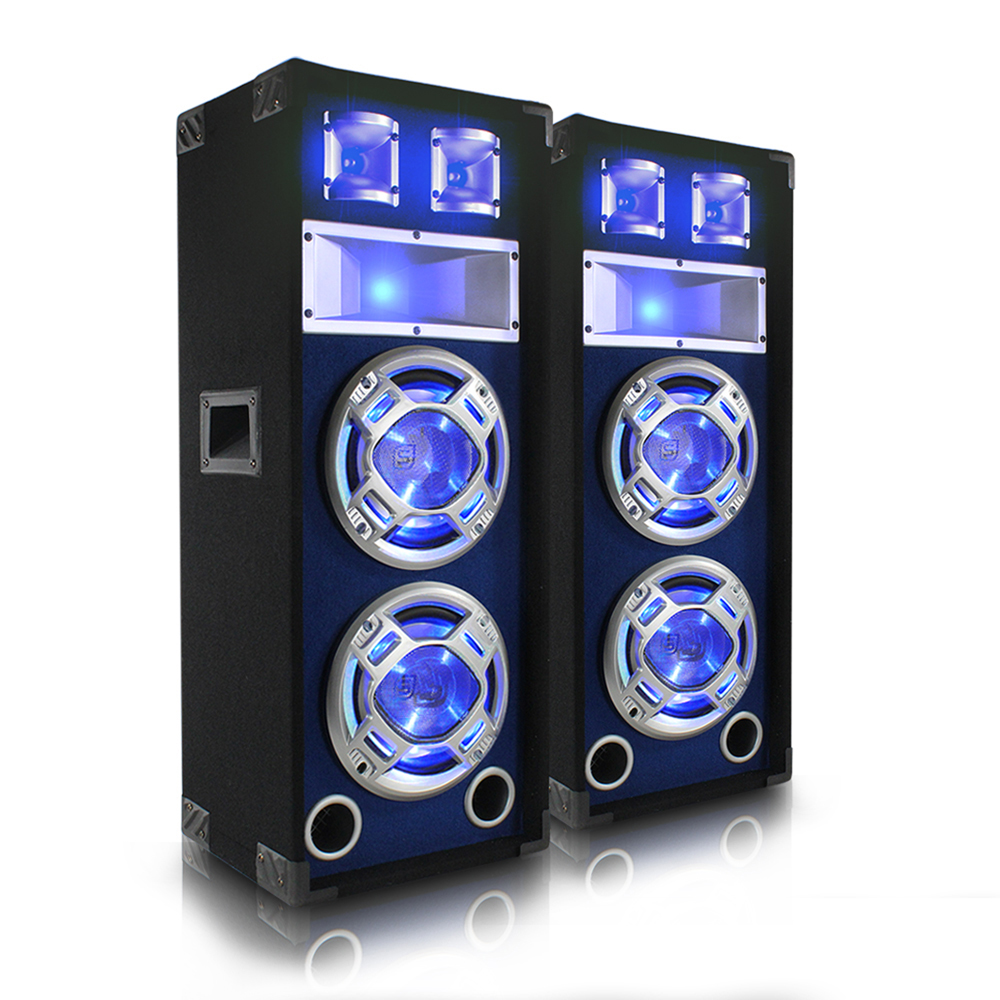2x Skytec Dual 10 Quot Inch Blue Led Pa Speakers Party Dj