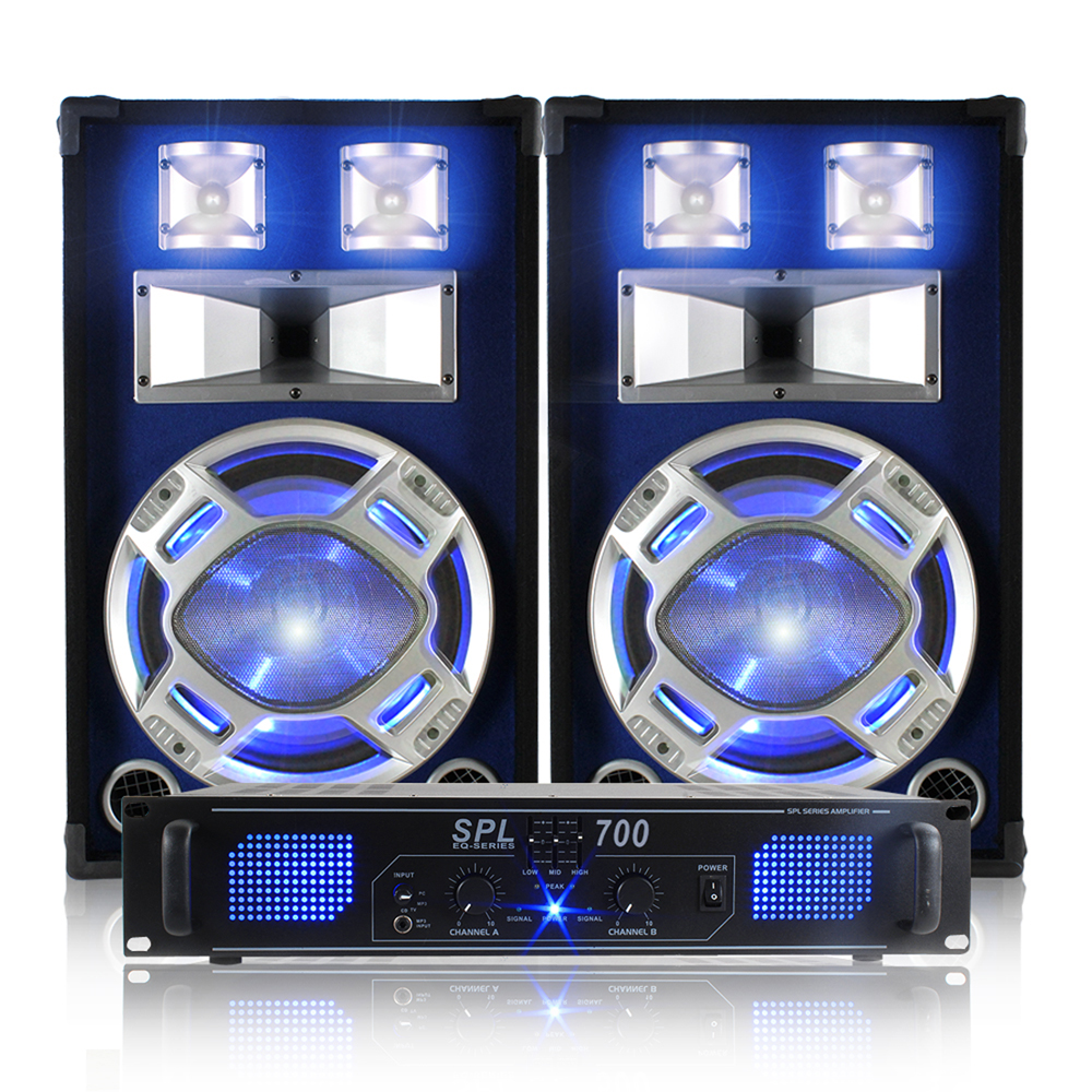 2x Skytec 12 Quot Blue Led Dj Speakers Amplifier Cables