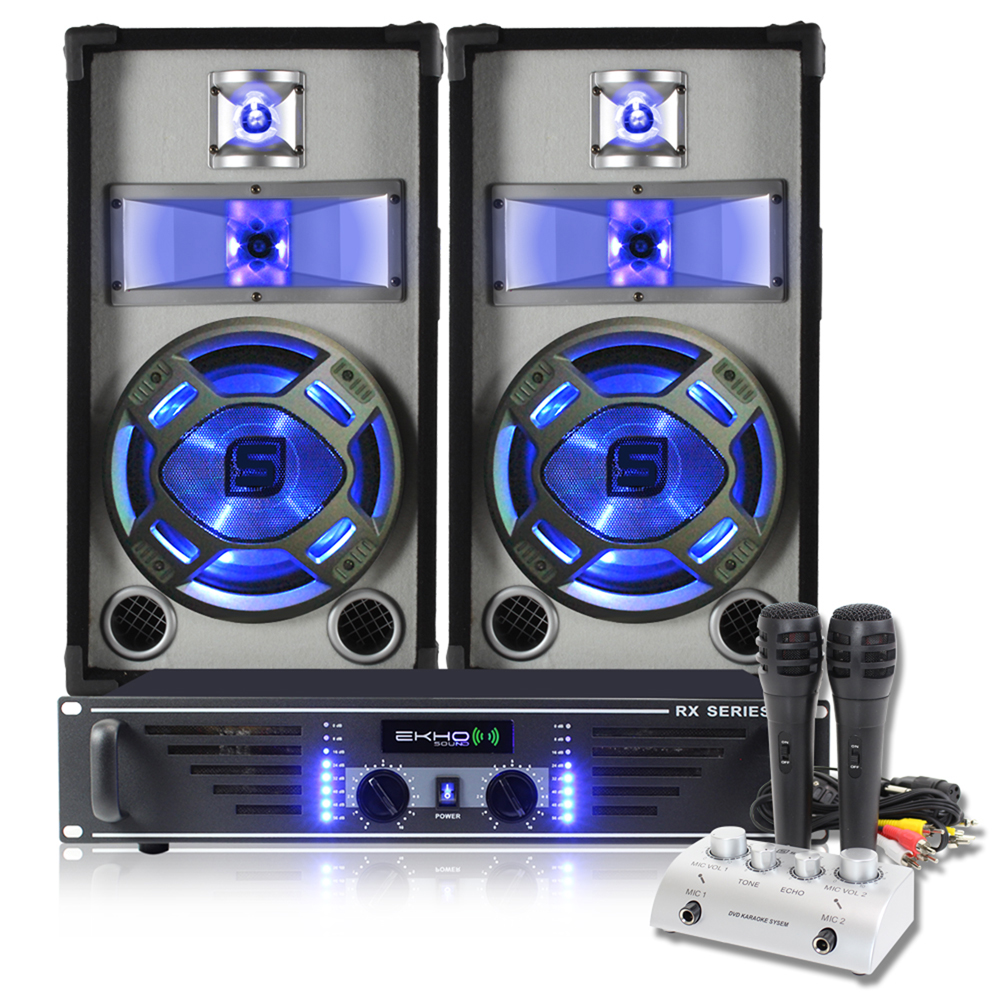 2x Skytec 10 LED Party Speakers Amplifier Karaoke Mixer Microphones 800W