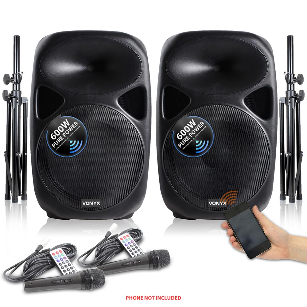 sound system speakers. vonyx 15 inch active powered pa sound system speakers mics stands 1200w dj disco n