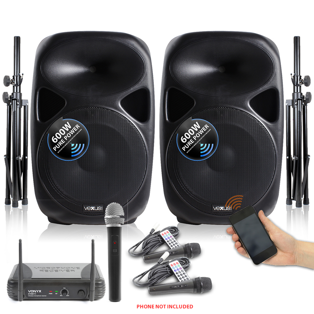 sps active powered pa speaker system 15 inch wireless. Black Bedroom Furniture Sets. Home Design Ideas