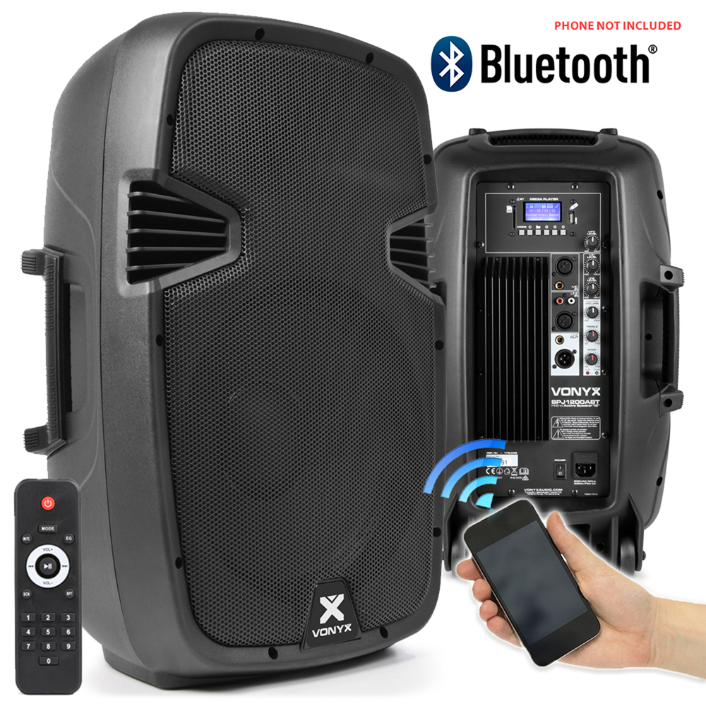 pair skytec active powered dj disco pa speakers wireless bluetooth 12 1200w ebay. Black Bedroom Furniture Sets. Home Design Ideas
