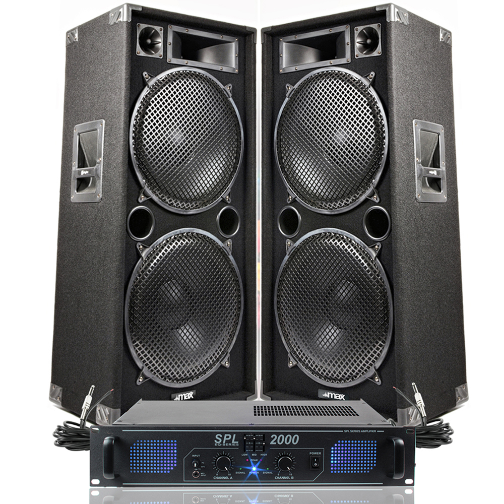 """2x Max Dual 15"""" Party Disco DJ Speakers + PA Amplifier + Cables System 2000W"""