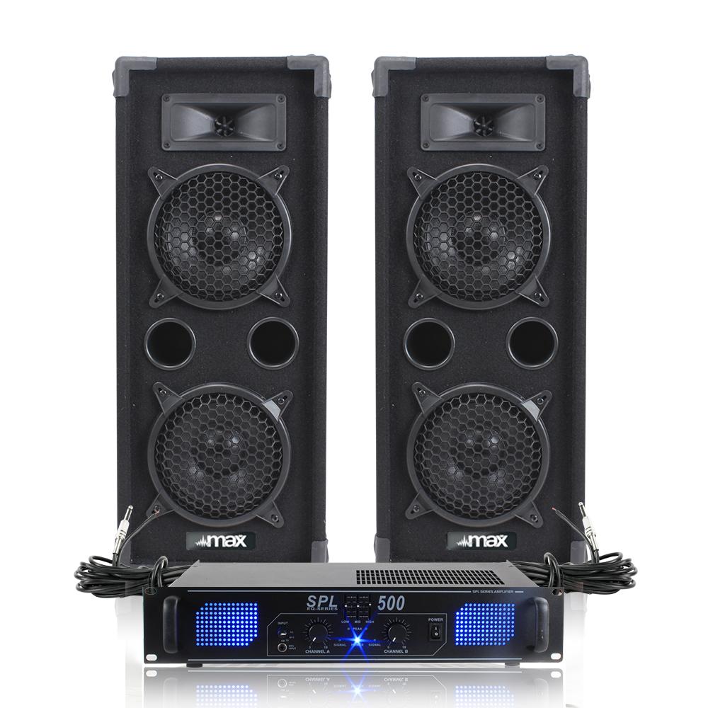 "2x Skytec 2 x 6"" Speakers EQ Power Amplifier Cables Bedroom DJ Disco Party 1200W"