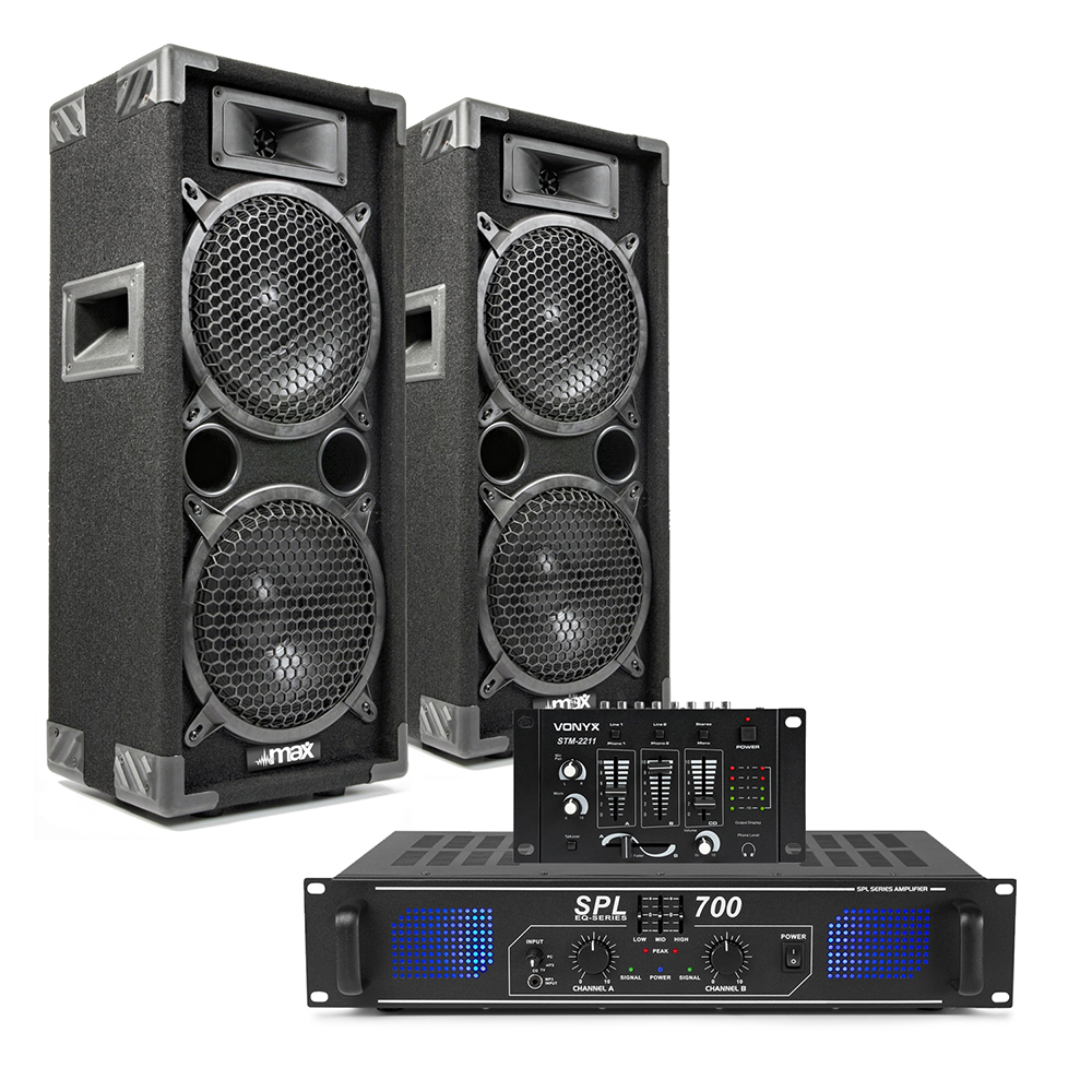 "2x Max 2 x 8"" Speakers Power Amplifier Mixer Bedroom DJ Disco PA Party 1600W"