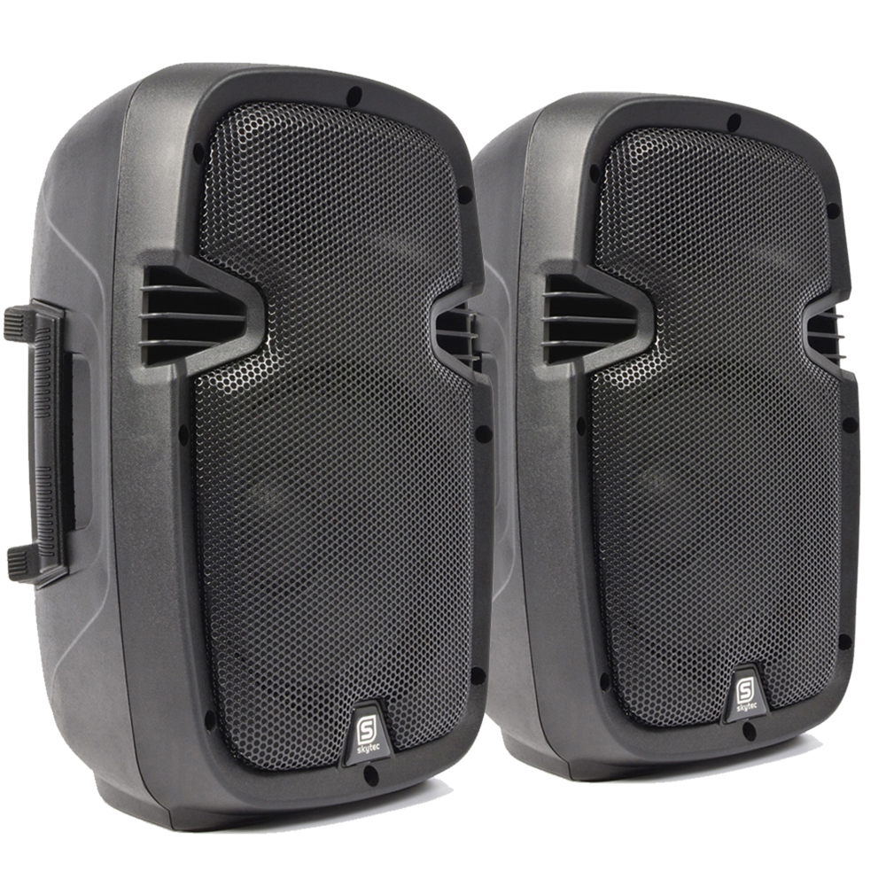 2 x skytec compact active powered 8 dj disco pa speaker monitors 400 watt pair ebay. Black Bedroom Furniture Sets. Home Design Ideas