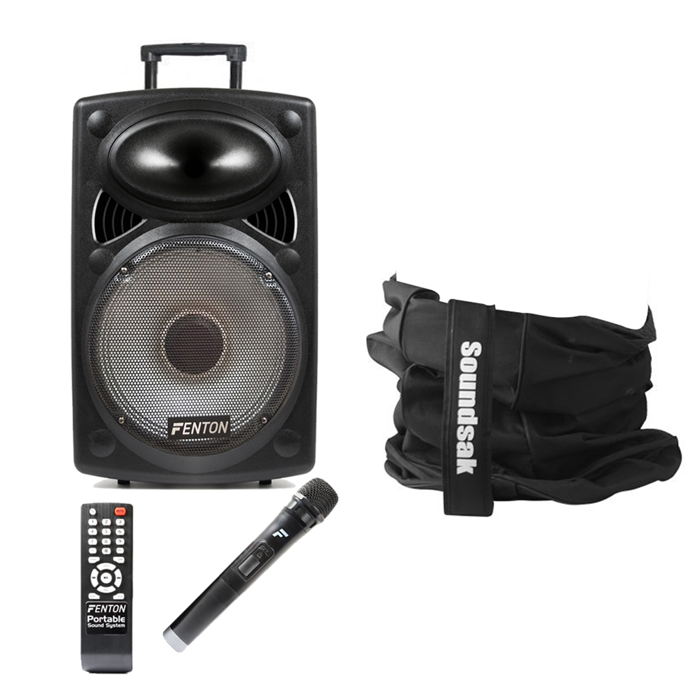 Fenton FPS12 12 Inch Active Powered Portable PA System with Soundsak Carry Bag
