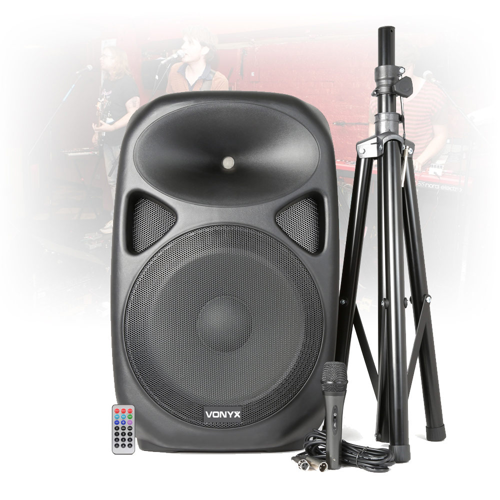 vonyx sps152 15 inch bluetooth active speaker system dj microphone pa stand. Black Bedroom Furniture Sets. Home Design Ideas