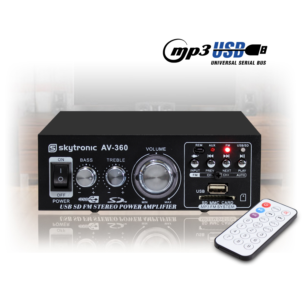Details about Skytronic AV-360 Hi-Fi Stereo Amp USB MP3 FM Compact  Amplifier EQ Remote Control