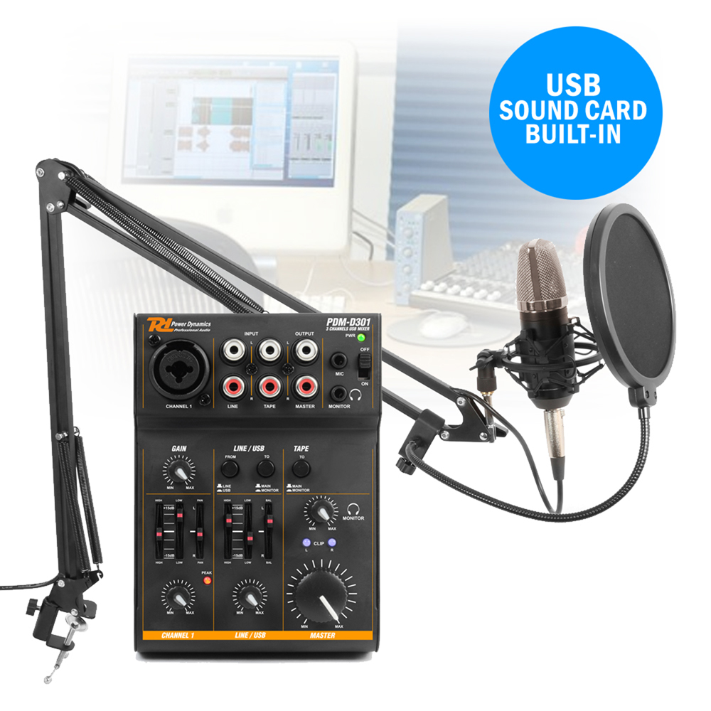 podcast desktop studio microphone and 3 channel usb live mixer recording set ebay. Black Bedroom Furniture Sets. Home Design Ideas