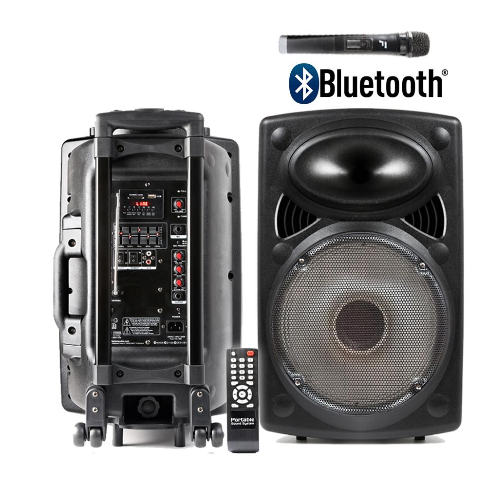 portable pa speaker system inc wireless microphone remote control bluetooth mp3 5056141306223 ebay. Black Bedroom Furniture Sets. Home Design Ideas