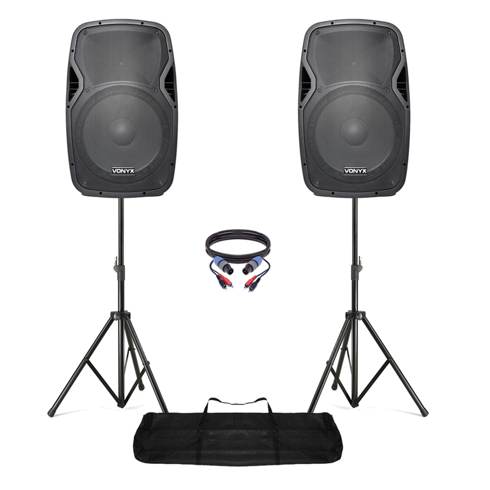 active powered 15 mobile dj pa disco speaker set with stands cables 1600w. Black Bedroom Furniture Sets. Home Design Ideas