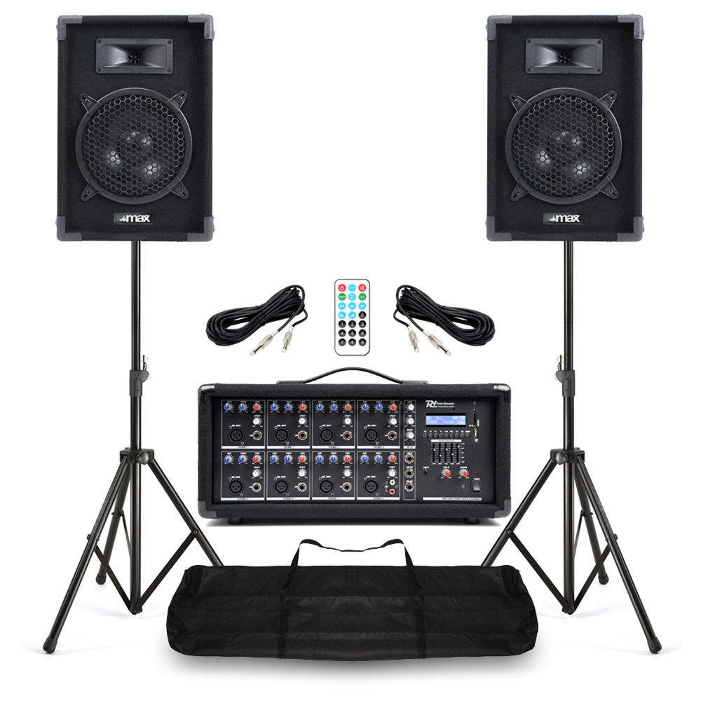 complete band pa speaker system 400w with 8 channel mixer amplifer plus stands 5056141368443 ebay. Black Bedroom Furniture Sets. Home Design Ideas