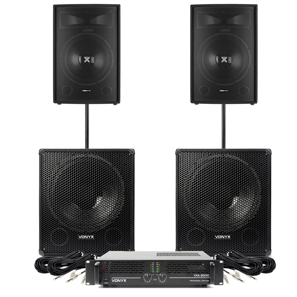 Speakers And Amplifier Pa Dj Disco Package 15 Quot Tops 18