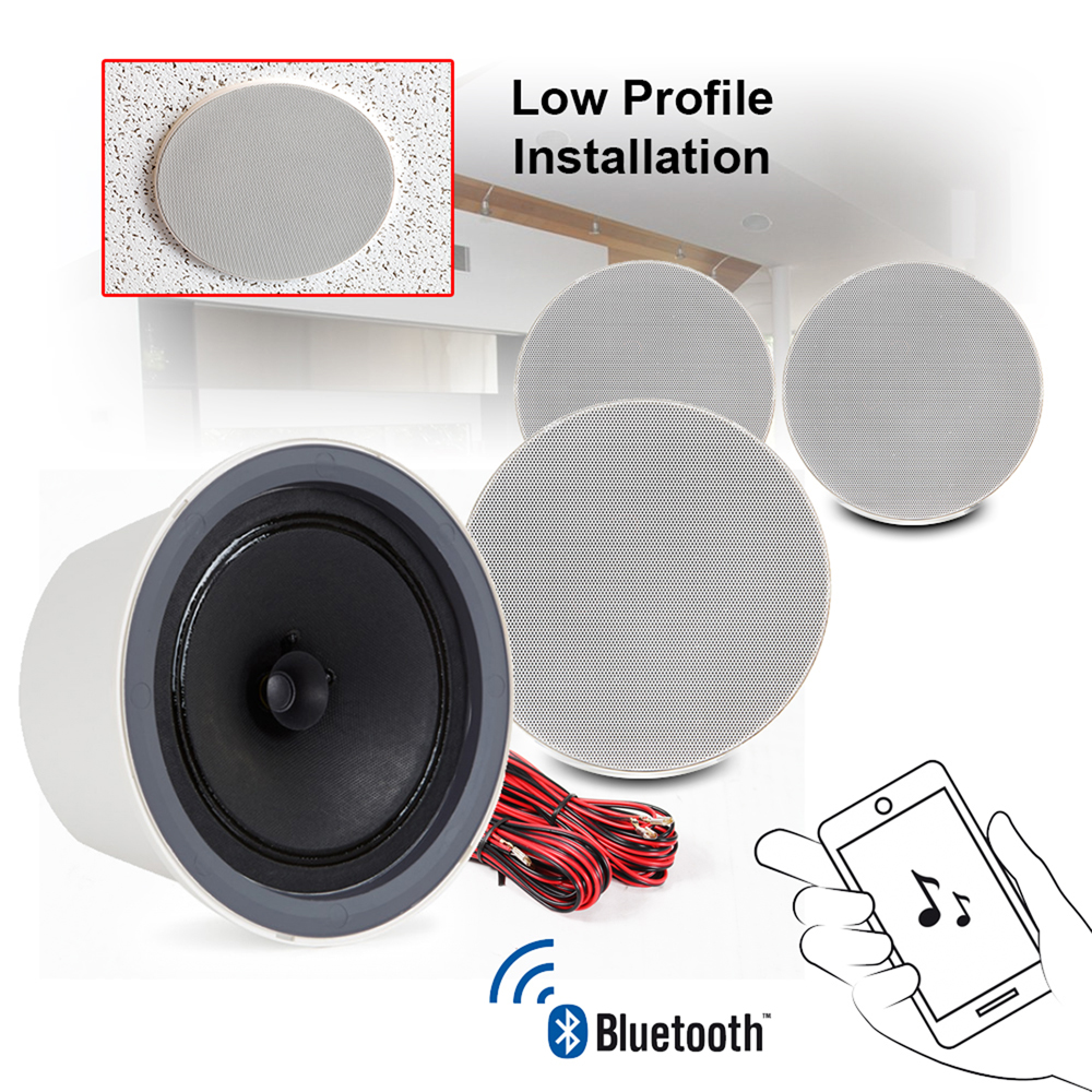 Details About In Ceiling Speakers Powered Pair Dual Cone Bluetooth Audio 4 0 Smart Streaming