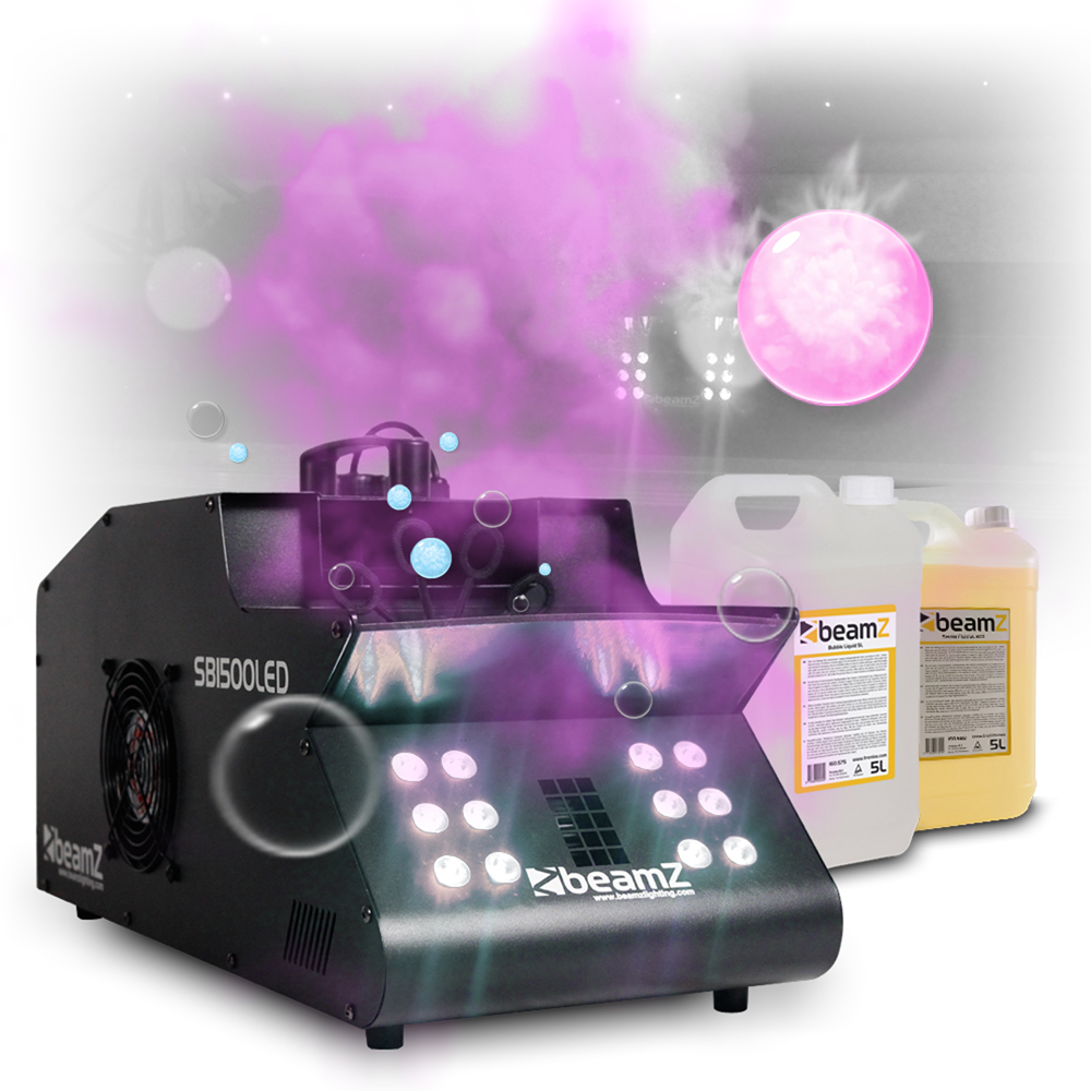smoke bubble machine 1500w colour led lights dj disco uv fog effect fluids ebay. Black Bedroom Furniture Sets. Home Design Ideas