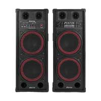 "Pair of Fenton Dual 2x 10"" Active Powered Speakers Disco Party DJ System 1200W"