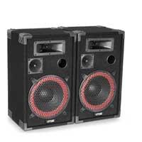 """Max Red 10"""" Passive DJ Speakers Pair, Mixer, Microphone & SPL500 Amplifier"""