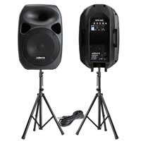 "Vonyx SPS122 12"" Active Speaker Set with Stands and Cable"